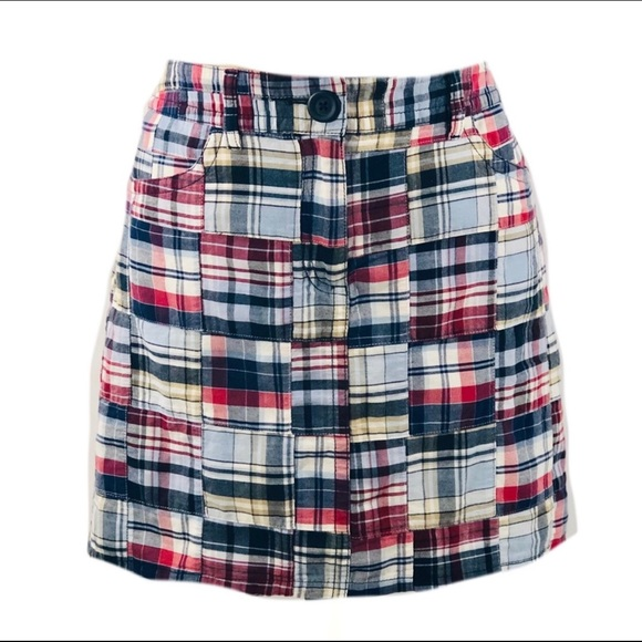 LOFT Dresses & Skirts - Loft Cotton Plaid Patchwork Skirt Sz 6